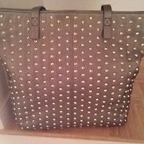 Steve Madden Studded Tote  Pewter Large Shopping Travel Zippered Nwt Photo