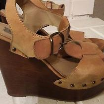 Steve Madden Tan Leather Suede Wedge Heel Strappy Sandal Shoe Womens Sz 9 Nice Photo