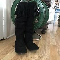 Steve Madden Tangllee Black Suede Leather Fringe Flat Comfortable Boots Size 10m Photo
