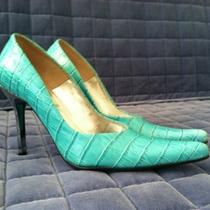 Steve Madden Turquoise Crocodile Stiletto Tarrah Heels Shoes 7.5 7 1/2b Photo
