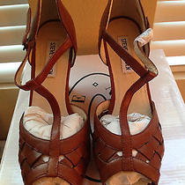 Steve Madden Vaneta Brown Leather Wedge T-Strap Sandals Size 7m Photo