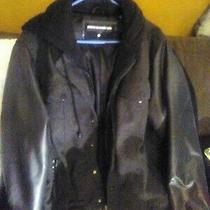 Steve Madden Varsity Letterman's Jacket Black and Grey Leather Sleeves Wool... Photo
