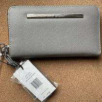 Steve Madden Wallet Gray Black Soft Texture Zip Around Wristlet New With Tags Photo