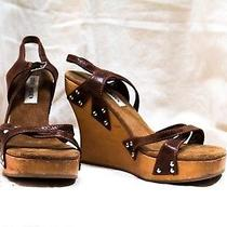 Steve Madden Wedges Womens Us Size 7.5-8 Pre-Owned Brown/ Tan 4.5 Inch Heels Photo