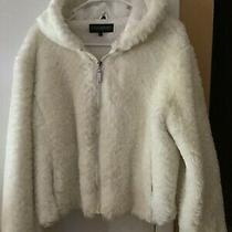 Steve Madden White Faux Fur Short Zip Front Jacket W/ Hood Size Xl Photo