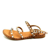 Steve Madden Womans Transport Flat Strappy Studded Slingback Sandals Brown 8m Photo
