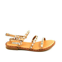 Steve Madden Womans Transport Flat Strappy Studded Slingback Sandals Brown 8.5m Photo