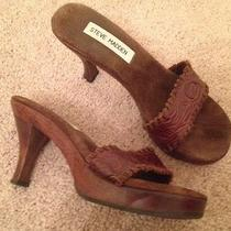 Steve Madden Women Platform Slide Heel Sandal Dark Brown Leather Padded Sole 5.5 Photo