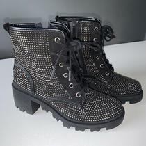 Steve Madden Womens Dymond Size 7 Black Faux Diamond Studded Zip Up Boots Nwot Photo