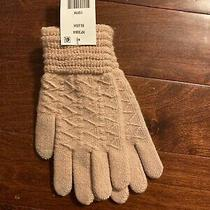 Steve Madden Womens Gloves Zip Zag Medium Blush Pink Lurex Osfa Ez Touch New Photo