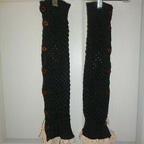 Steve Madden Women's Leg Warmer Black With Ivory Crochet One Size Winter  Photo