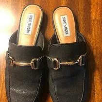 Steve Madden Women's Macrae Bite Mule Shoes Black & Gold 8.5 Leather Photo