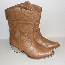 Steve Madden Womens P-Wesst Camel Leather Western Pull-on Slouch Boots 6.5 Sale Photo