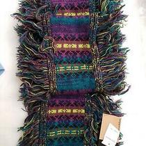 Steve Madden Women's Purple Green Printed Knit Fringed Acrylic Scarf New 146  Photo