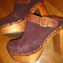 Steve Madden Women's Wooden Heel Maroon Suede Sz 7.5m Studded Buckle  Photo