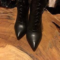 Steve Madden Womens 8.5b Black Leather Zippered Midcalf Boots Photo