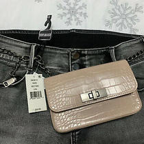 Steve Madden Womens Croc-Embossed Faux Leather W/chain Belt Bag (Nude L/xl) Nwt Photo