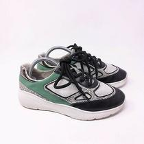 Steve Madden Womens Current Trainer Sneakers Size 9 White Black Green Leather Photo