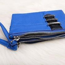 Steve Madden Womens Fashion Double Zip Wallet Nwt Royal Blue W/ Wrist Strap Id Photo