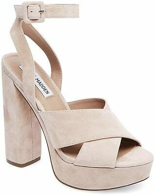 Steve Madden Womens Jodi Leather Open Toe Ankle Strap Platform, Blush, Size 8.5 Photo