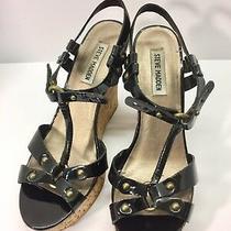Steve Madden Womens Quesst Black Leather Wedge Sandal Size 8.5m Black Photo