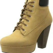 Steve Madden Womens Russty Lace Up Platform Ankle Boot Shoes Wheat Us 5.5 Photo