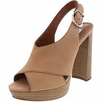 Steve Madden Womens Sangria Leather Peep Toe Ankle Strap Blush Nubuck Size 7.5 Photo