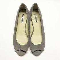 Steve Madden Womens Size 7m Bunni Grey Suede Peeptoe Wedges 1.25 Inches Photo