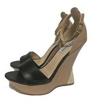 Steve Madden Womens Size 9.5 Blush Mult Brown Upper Leatherleatger Wedge Heels Photo
