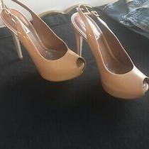 Steve Madden Womens Slingback Platform Heels Size 9m Nude Patent Peep Toe Photo