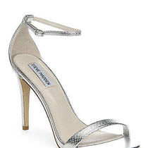 Steve Madden Womens Stecy Leather Open Toe Casual Ankle Strap Silver Size 7.5 Photo