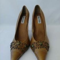 Steve Madden Womens Sz 10b Pumps Tan Leather Pointed Toe Studs Detail Photo