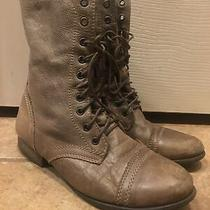 Steve Madden Womens Troopa Leather Combat Boots Earthy Taupe Size 8m Photo