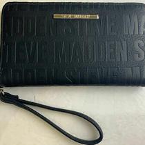 Steve Madden Zip Around Wallet Clutch Wristlet Black Embossed Logo Silver Photo