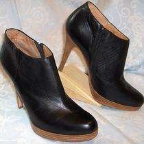Steven Black Leather Fashion Ankle Boots 10m Platform Stiletto Heel Steve Madden Photo