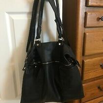 Steven by Steve Madden Black Faux Leather Xl Work Bag Tote Purse Lots of Pockets Photo