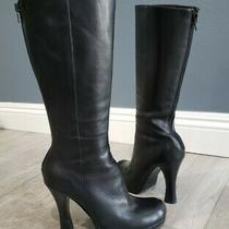 Steven by Steve Madden Black Leather Tall Heeled Boots Sz 8.5m Photo