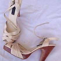 Steven by Steve Madden Cream Ivory Wooden Retro Heels Size 10 Photo