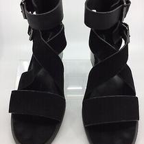 Steven by Steve Madden Elinda Black Leather Sandals Size 8.5 Photo