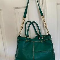 Steven by Steve Madden Large Leather Purse Green Handles  Shoulder Strap/chain Photo