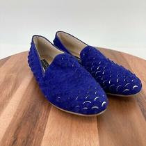 Steven by Steve Madden Shoes Blue Suede Mombi Scaled Loafer Flats Size 6 M Photo