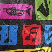 Steven Harris Bright Colors Musical Instruments Notes Gclef Hand Made Neck Tie Photo