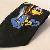 Steven Harris Guitar Novelty Tie Multi-Color Polyester Music Instrument Classic Photo