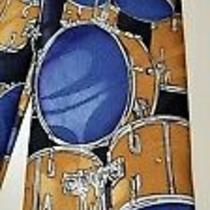 Steven Harris Handmade Navy Blue Gold Drum Sets Novelty Necktie Tie Photo