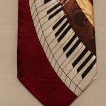 Steven Harris Maroon White Black Gold Brown Piano Keys Polyester Neck Tie 3 3/4