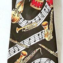 Steven Harris Music Drums Cello Saxaphone Black Gold Necktie Tie Photo