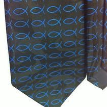 Steven Harris Necktie Christian Fish Black With Blue Fish Sunday School Church Photo