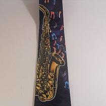 Steven Harris Saxophone Men's Neck Tie - Royal Blue Musical Notes Sax Instrument Photo