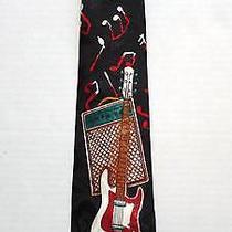 Steven Harris Silk Mens Tie Electric Guitar Music Notes Musician Rock Novelty Photo