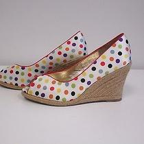 Steven Madden White Polka Dot Fabric Leather Straw Wedge Shoes Sz 7 Nwob B2303 Photo